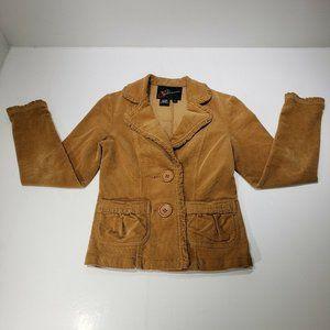 Women's BKE Outerwear Brown Ruffle Pockets Corduro